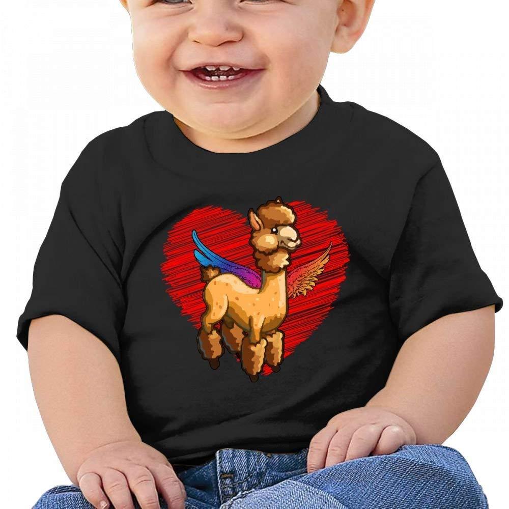 YXQMY Llama Alpacas Wings Heart Baby Casual Round Neck T-Shirts Short eeve T