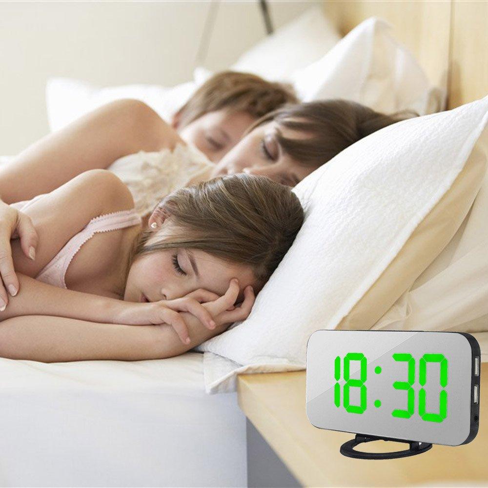 Rouge R/éVeil Matin,Double Ports USB Charger T/éL/éPhones Intelligents,Miroir Horlogue De Grand /éCran avec 3 Luminosit/éS R/éGlables Yvelands LED R/éVeil Num/éRique