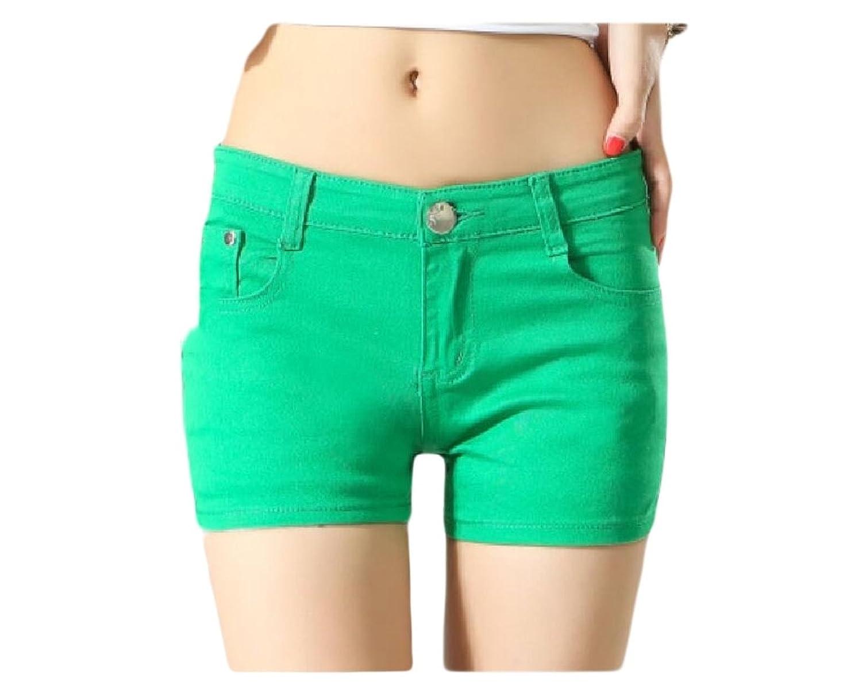 Buildup Women Short Summer Shorts Skinny Summer Leisure Mulit Color Shorts Jeans Green XXS hot sale