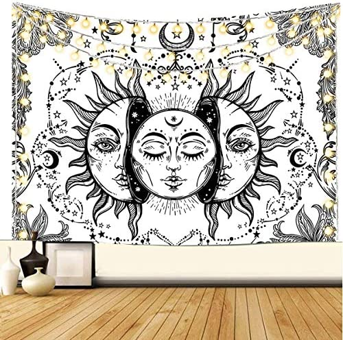 Sun and Moon Tapestry Black and White Art Tapestry Fractal Faces Hippie Bohemian Tapestry Wall Hanging for Dorm Living Room Bedroom White, 91 L x 71 W