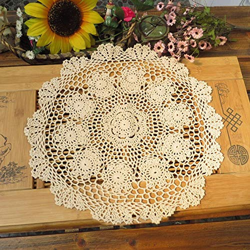(FidgetKute Vintage Hand Crochet Lace Doily Round Table Topper 20inch Cotton)