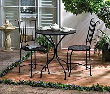 Black Metal Scrollwork Design Decorative Outdoor Patio Garden Deck Rocking Chair