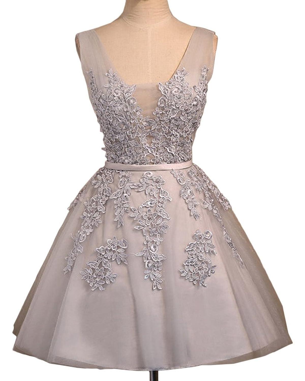 Gorgeous Bride Short Ball Gown V-neck Prom Cocktail Graduation Dresses Lace