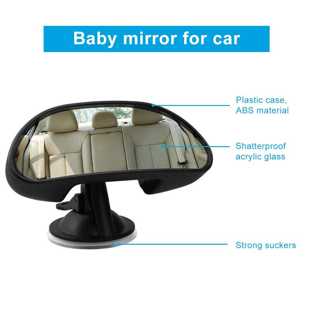 360 Grad Drehbar Auto R/ücksitz Spiegel Babyspiegel Autospiegel R/ücksitzspiegel f/ür Kindersicherheit Schwarz Auto Baby Spiegel R/ückspiegel f/ür Baby Kinder Autospiegel mit Rutschfestem Saugnapf