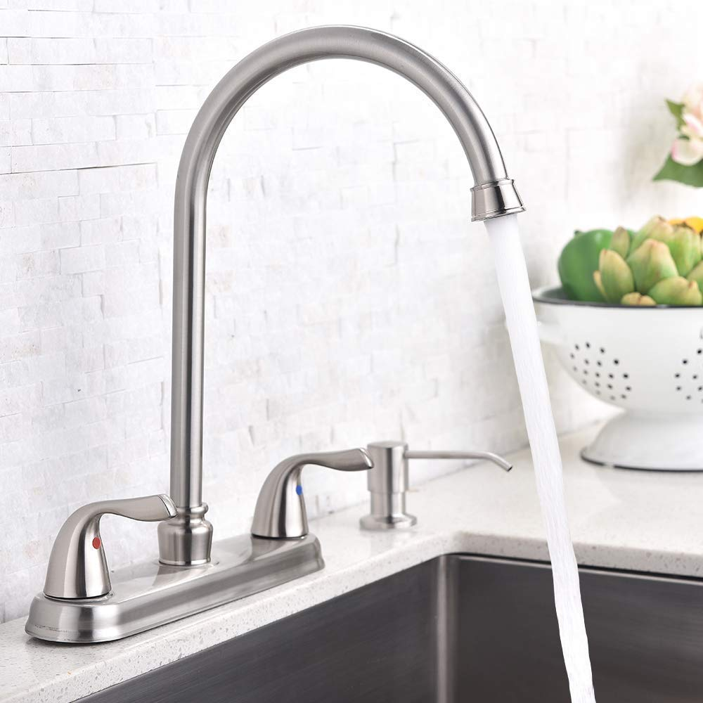 Hotis Commercial Stainless Steel Lead-Free Two Lever Two Hole Gooseneck High Arc Two Handle Kitchen Sink Faucet, Brushed Nickel Kitchen Faucet by HOTIS HOME (Image #3)
