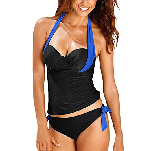 a8a7319a0843f Image Unavailable. Image not available for. Color: Giulot Two Piece Swimsuit  Lace Up Bandage Push ...
