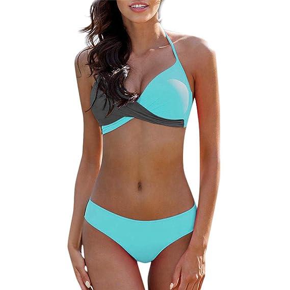 40 42 44 Cup F blau Damen Bikini Gr weiß Neckholder mit Bügel und Polster