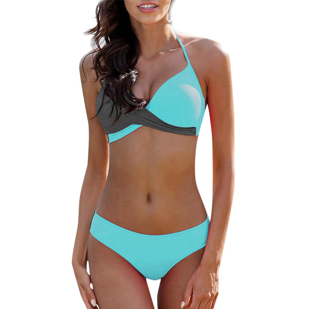 TnaIolral Womens Bikini Padded Bra Set Swimsuit Bathing Suit Swimwear Beachwear Blue