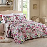 FADFAY King Colorful Flowers And Birds Comforter Sets Kids Patchwork Quilts Princess Girls Red Quilted Bed Throws Bed Cover Blanket 3Pcs