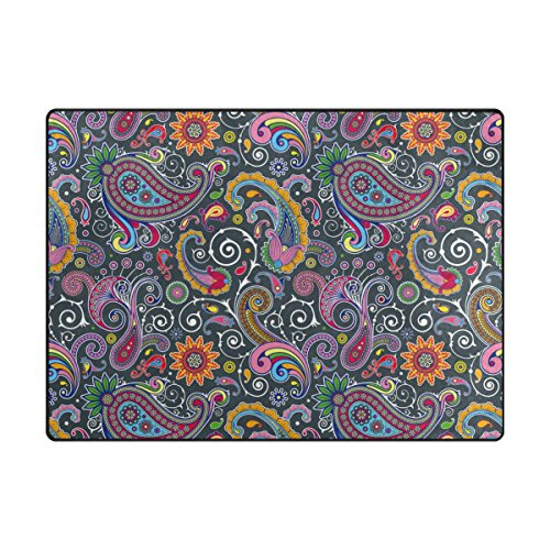 (INGBAGS Super Soft Modern Flower Paisley Area Rugs Living Room Carpet Bedroom Rug for Children Play Solid Home Decorator Floor Rug and Carpets 6'7 x 4'8 - Feet)
