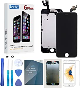 iezfix for iPhone 6 Plus Screen Replacement LCD Screen Full Assembly Kit with Front Camera + Ear Speaker + Proximity Sensor + Repair Tools + Glass Screen Protector (6Plus Black)