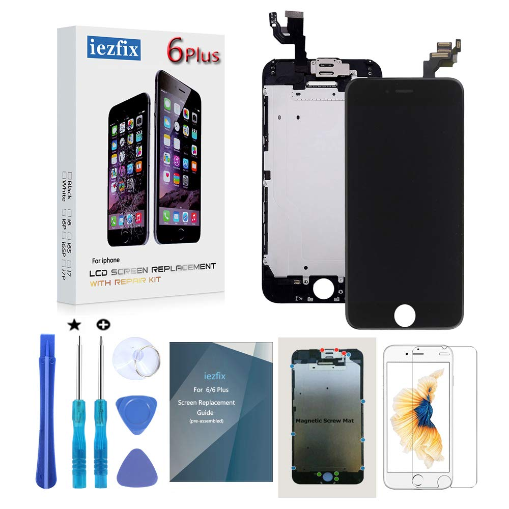 for iPhone 6 Plus Screen Replacement LCD Screen Full Assembly Kit with Front Camera + Ear Speaker + Proximity Sensor + Repair Tools + Glass Screen Protector by IEZFIX (6Plus Black)