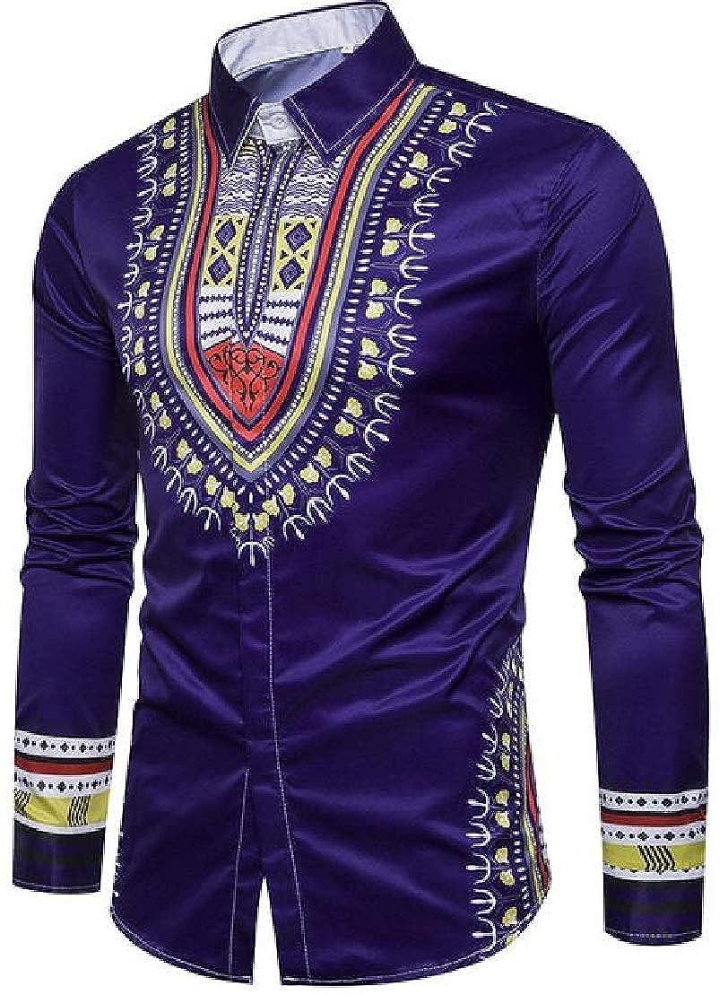 Wofupowga Men Lapel Neck Printed Dashiki Ethnic Style Stylish Button Down Shirts