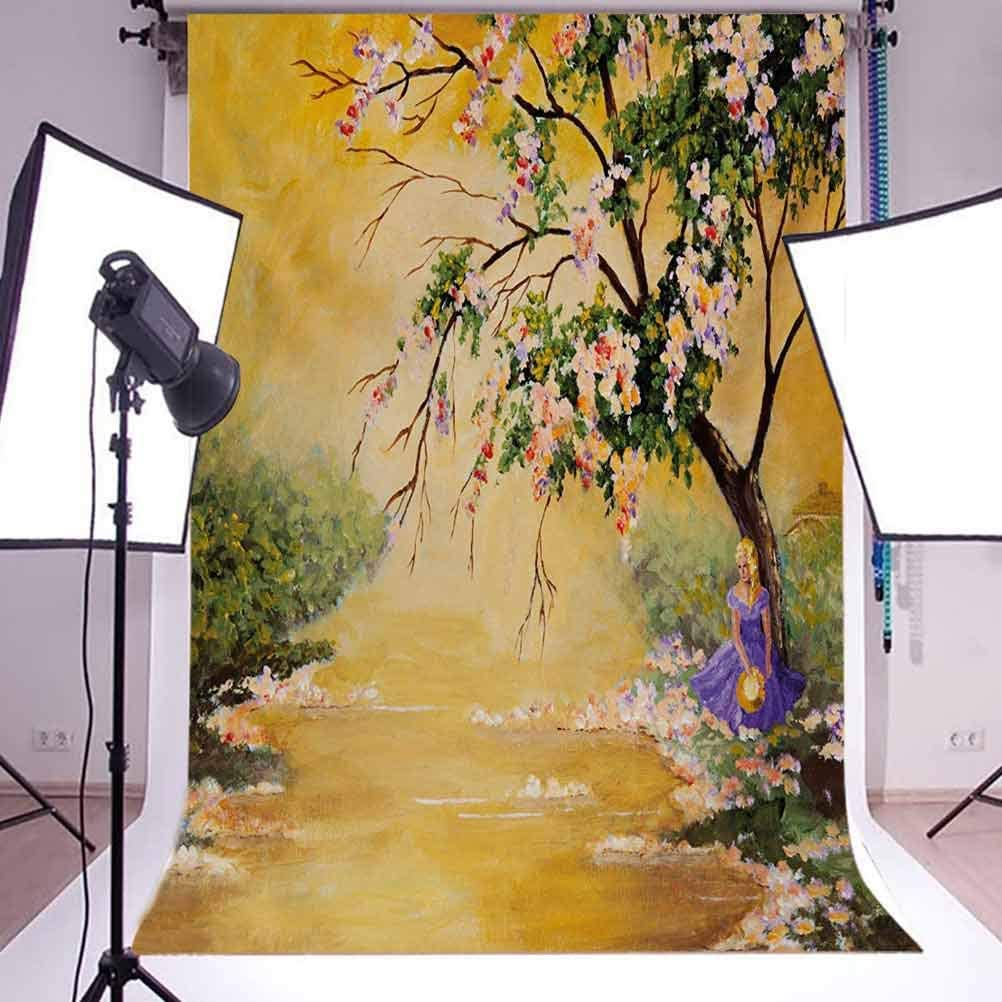 Landscape 10x15 FT Backdrop Photographers,Oil Painting Acrylic Like Image Flower Petal Falls Down Near River with Girl Art Background for Baby Shower Bridal Wedding Studio Photography Pictures