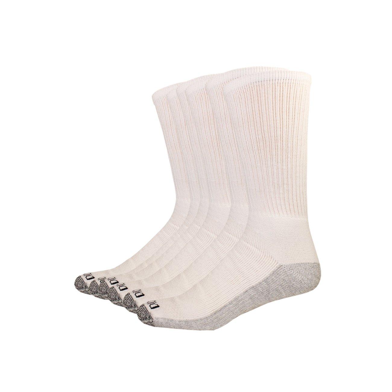 Dickies Men's Multi-Pack Dri-Tech Moisture Control Crew Socks, White 6 Pack, Sock Size: 10-13/Shoe Size: 6-12