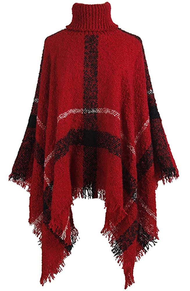 QZUnique Women's Turtleneck Poncho Sweater Knit Cape Pullover Shawl Wrap Tassels GBD-MMY-WM69140-Mibai