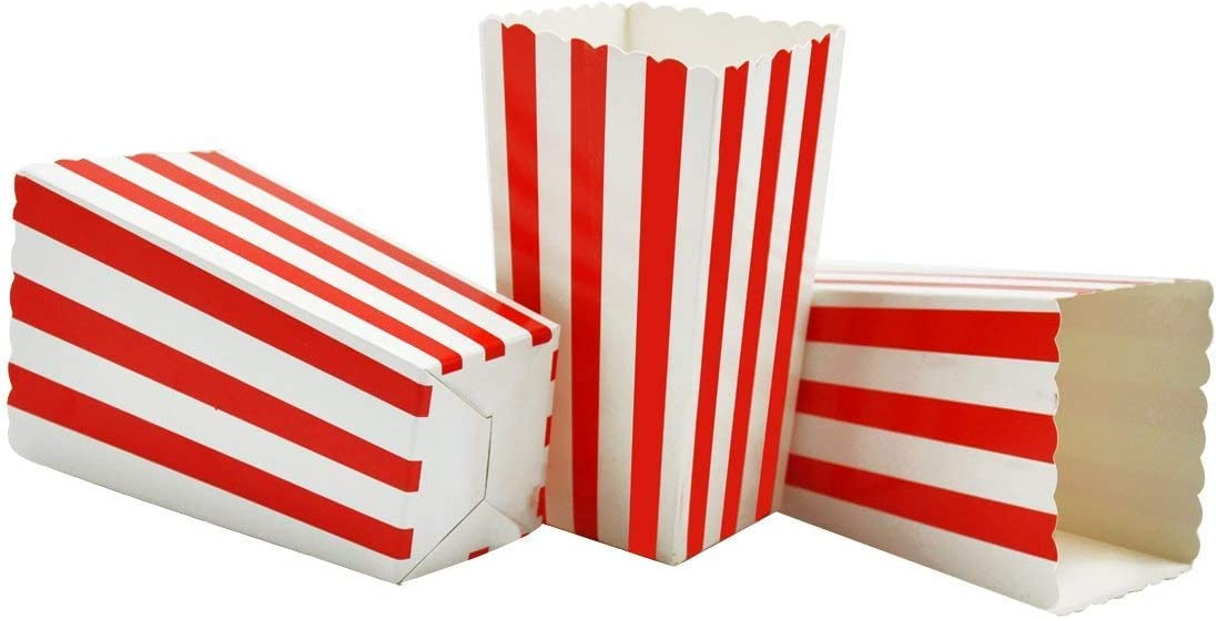 Birthdays and Wedding Gifts Kids ruiwen 50 Pcs Popcorn Bags,Striped Paper Popcorn Boxes Cardboard Candy Container for Parties Popcorn Sweets