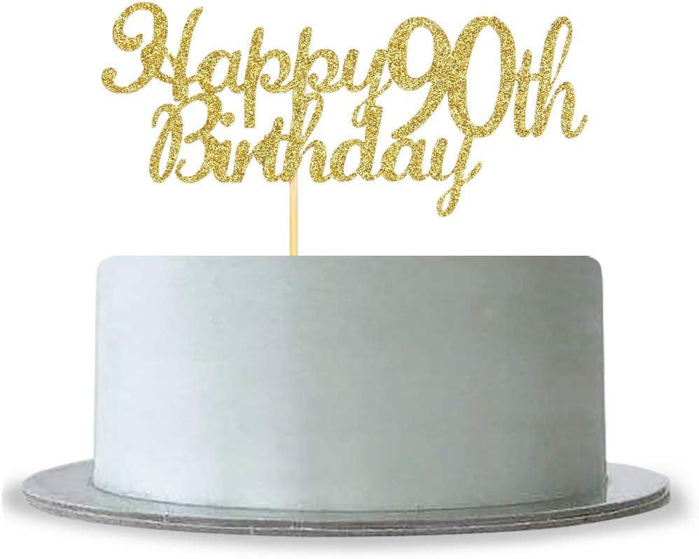 Astonishing Amazon Com Happy 90Th Birthday Cake Topper Gold Glitter Hello 90 Personalised Birthday Cards Petedlily Jamesorg