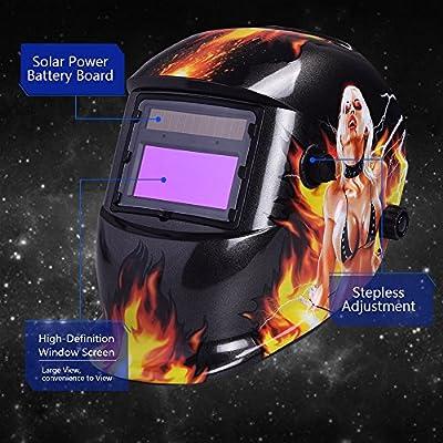 nuzamas funciona con energ/ía solar auto oscurecimiento soldadura casco m/áscara de soldadura cara protecci/ón para Arc Tig Mig de Molienda de corte por plasma con pantalla de ajustable gama DIN4//9-13