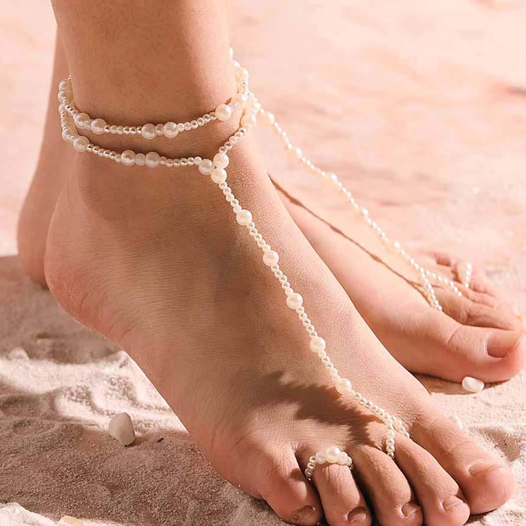 Aetorgc Classy White Barefoot Sandals Pearl Beach Bridal Feet Jewelry for Women and Girls (2)
