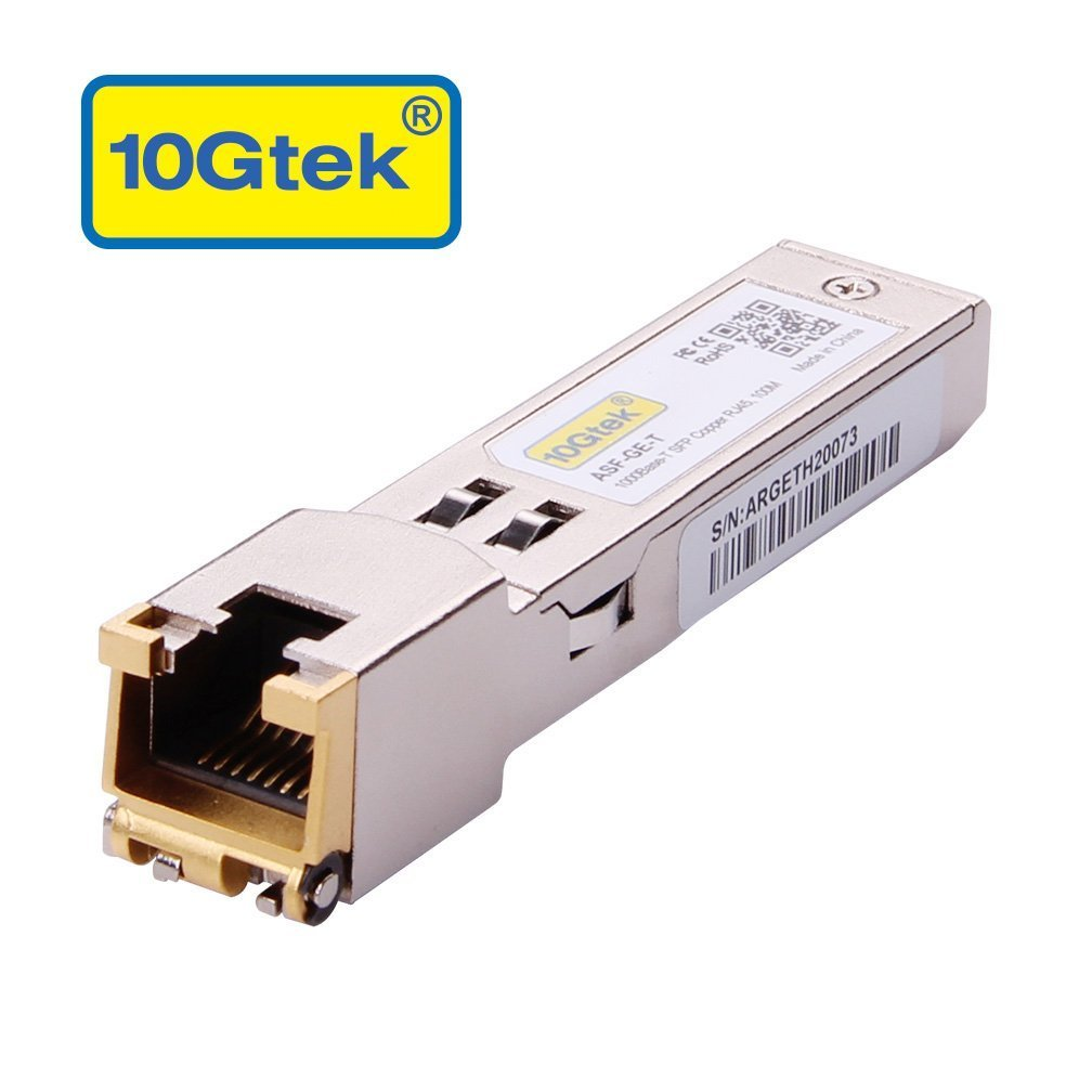 SFP to RJ45 Copper Module - 1000BASE-T Mini-GBIC Gigabit Transceiver for Cisco GLC-T/SFP-GE-T, Ubiquiti UF-RJ45-1G, D-Link, Supermicro, Netgear, TP-Link, Broadcom, Linksys, up to 100m by 10Gtek