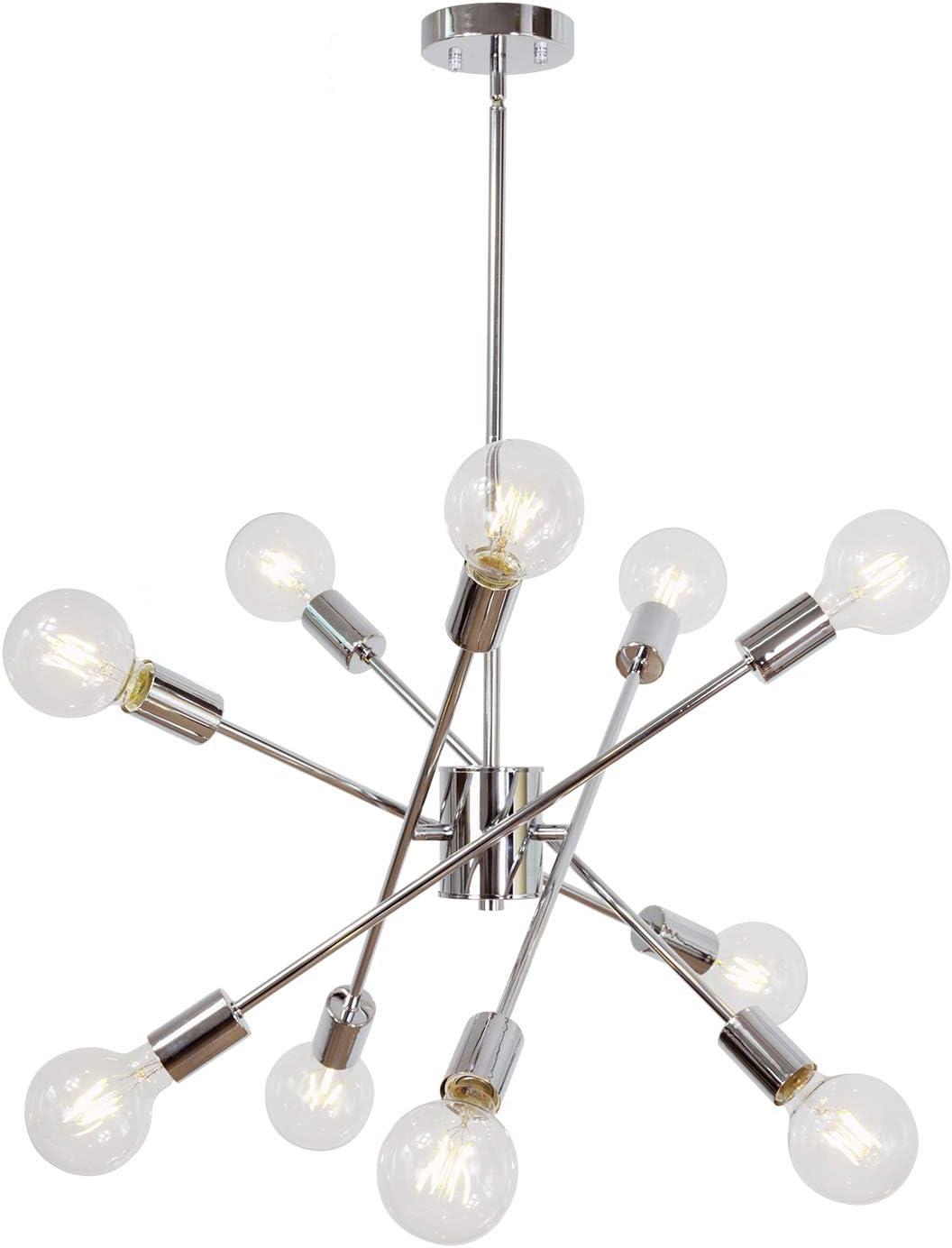 MELUCEE Large Chandelier Lighting Sputnik Flush Mount 10 Lights Chrome, Modern Pendant Light Fixtures Ceiling Hanging for Dining Room Bedroom Living Room Kitchen