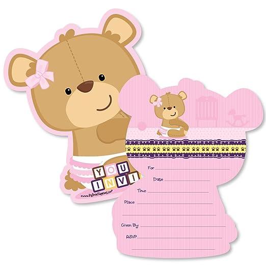 Amazon.com: Bebé niña con forma de osito llenar invitaciones ...