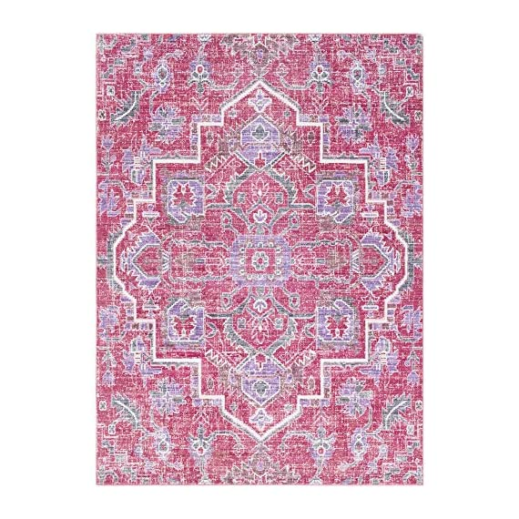 Germaine Bright Pink and Bright Purple Updated Traditional Area Rug 2' x 3' - Features a captivating and lustrous sheen Power-loomed construction makes this rug perfect for high-traffic areas; reduces shedding Updated Traditional style adds a contemporary twist to an esteemed classic motif - living-room-soft-furnishings, living-room, area-rugs - 611bAQzLyAL. SS570  -
