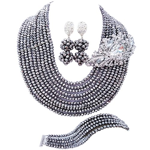 laanc 10 Rows Fashion Costume African Beads Jewelry Set Nigerian Wedding Bridal Jewelry Sets for Women (Silver)