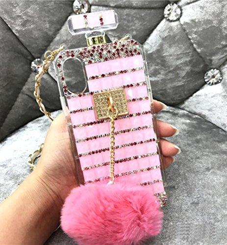 Losin Perfume Case Compatible with Apple iPhone 7 Plus / iPhone 8 Plus 5.5 In Luxury Bling Diamond Rhinestone Bow Perfume Bottle Furry Plush Ball Bling Glitter Gemstone Soft TPU Back Case with Lanyard