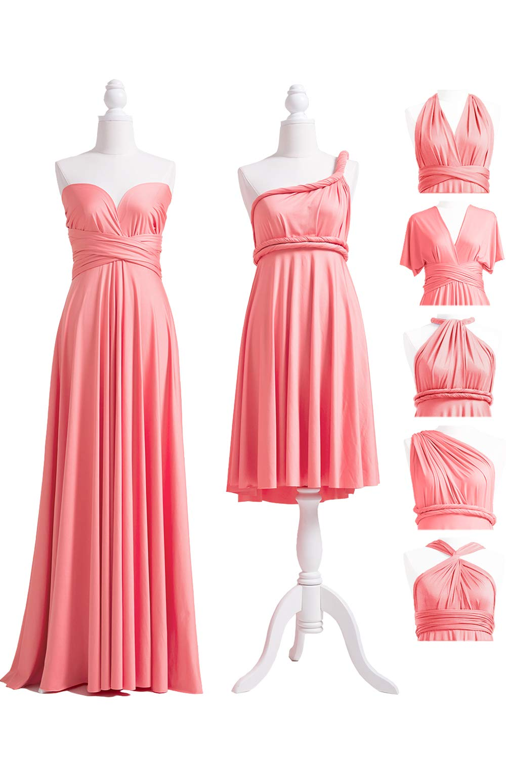 72STYLES Coral Pink Infinity Dress with Bandeau, Convertible Dress,  Bridesmaid Dress, Long,Short, Plus Size, Multi-Way Dress, Twist Wrap Dress