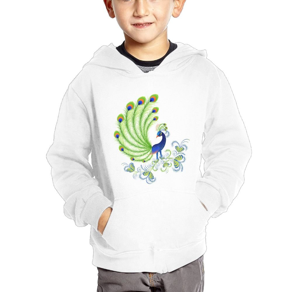 JIANGSHAN Handsome Peacock Personality Hooded Pocket Sweater for Children Spring//Autumn//Winter Outfit Long-Sleeved Hoodie