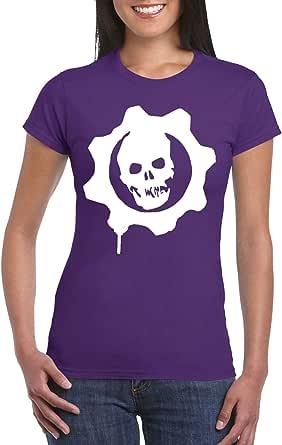 Purple Female Gildan Short Sleeve T-Shirt - Gears of war Logo design