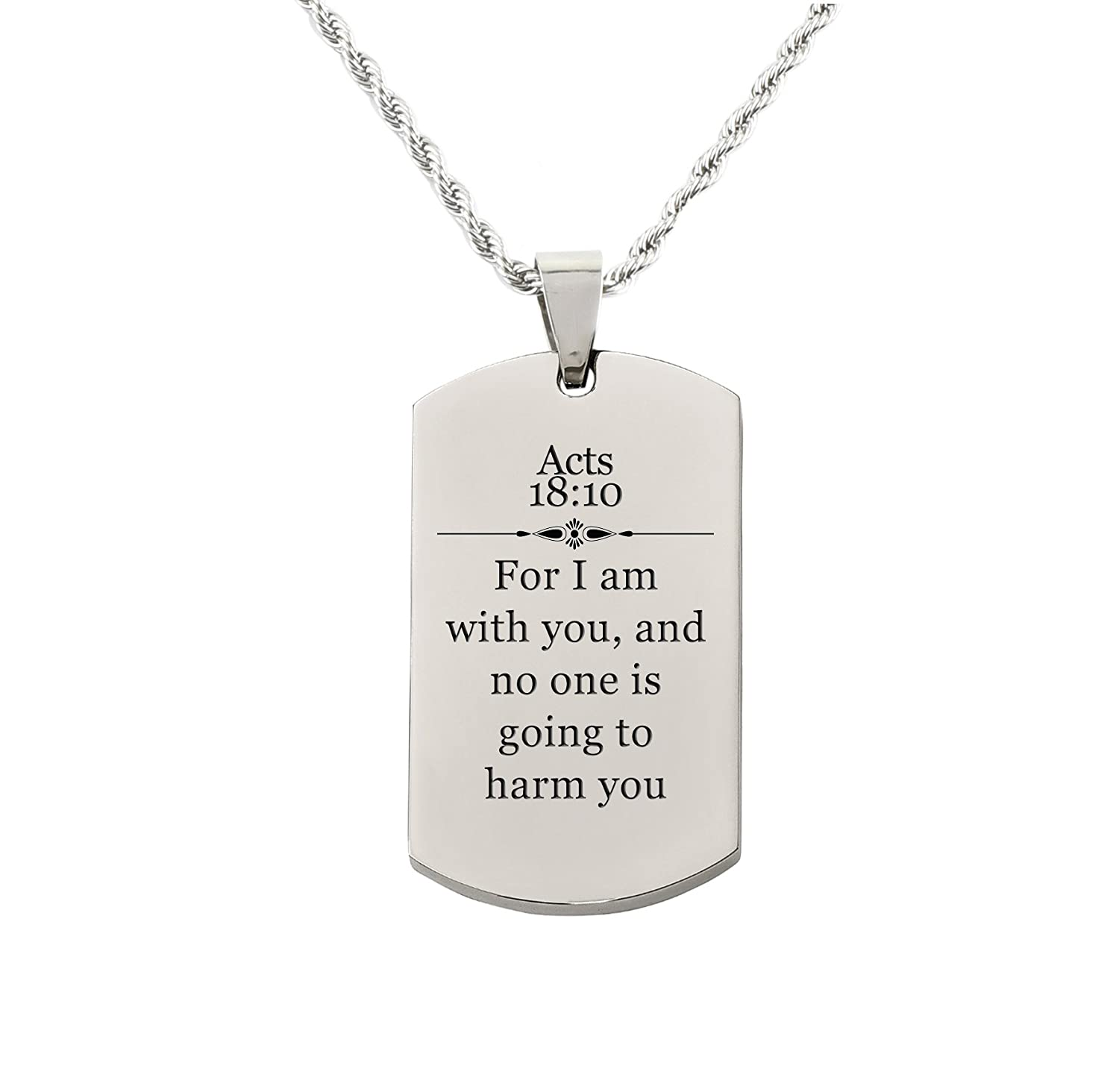 Pink Box Holy Scripture Tag Necklace in Solid Stainless Steel - ACTS 18:10