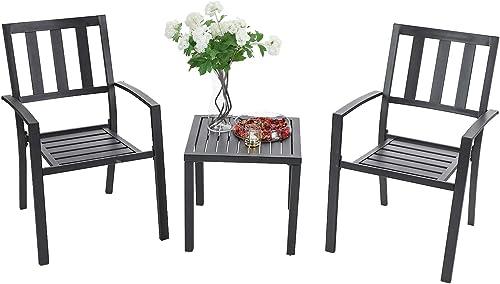 Sophia William Metal Outdoor Patio Dining Set Bistro Furniture Set 3 Piece