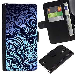 Floral Modelo abstracto - la tarjeta de Crédito Slots PU Funda de cuero Monedero caso cubierta de piel Para Samsung Galaxy S4 Mini i9190 (NOT S4)