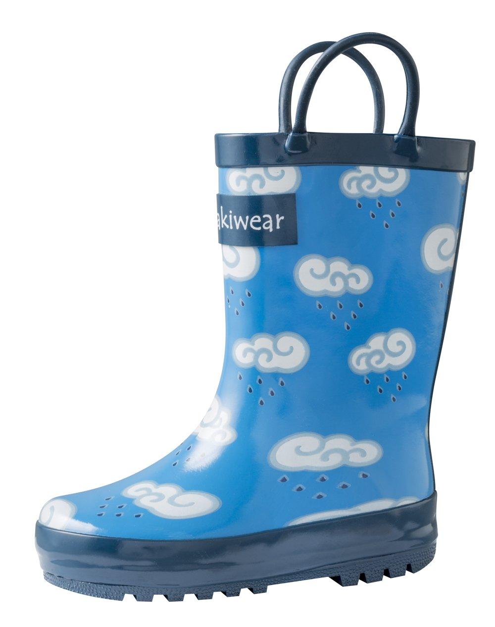 Oakiwear Kids Rubber Rain Boots with Easy-On Handles, Clouds, 9T US Toddler by Oakiwear (Image #3)
