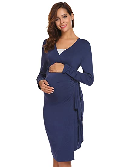 ec173c3773 Ekouaer Women s Maternity Nursing Nightgown Ruched Wrap Long Sleeve Sleep  Dress (Navy Blue