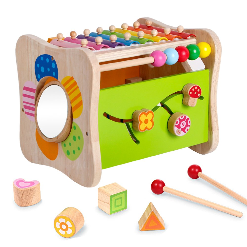 Life&Fun Kids Initiation Musical Toy Wooden 3 in 1 Multifunctional Music Toys Pound & Tap Xylophone Color&Tones Colorful Keys with Mallets