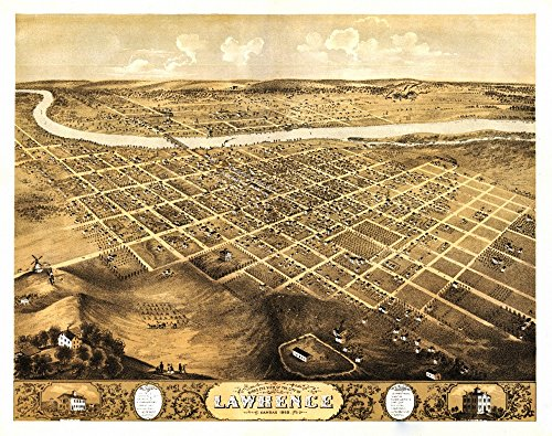 Lawrence, Kansas - (1869) - Panoramic Map (12x18 SIGNED Print Master Art Print w/Certificate of Authenticity - Wall Decor Travel Poster) ()