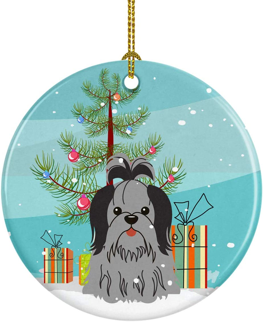 Caroline's Treasures BB4214CO1 Merry Christmas Tree Shih Tzu Black Silver Ceramic Ornament, 3 in, Multicolor