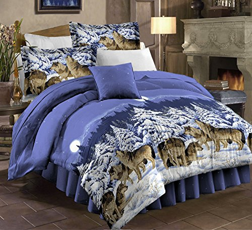 Mountain Home Cabin Lodge Wolf Wolves King Comforter Set (4 Piece Bed In A Bag) + BONUS HOMEMADE WAX MELT! - Mountain Wolf Lodge