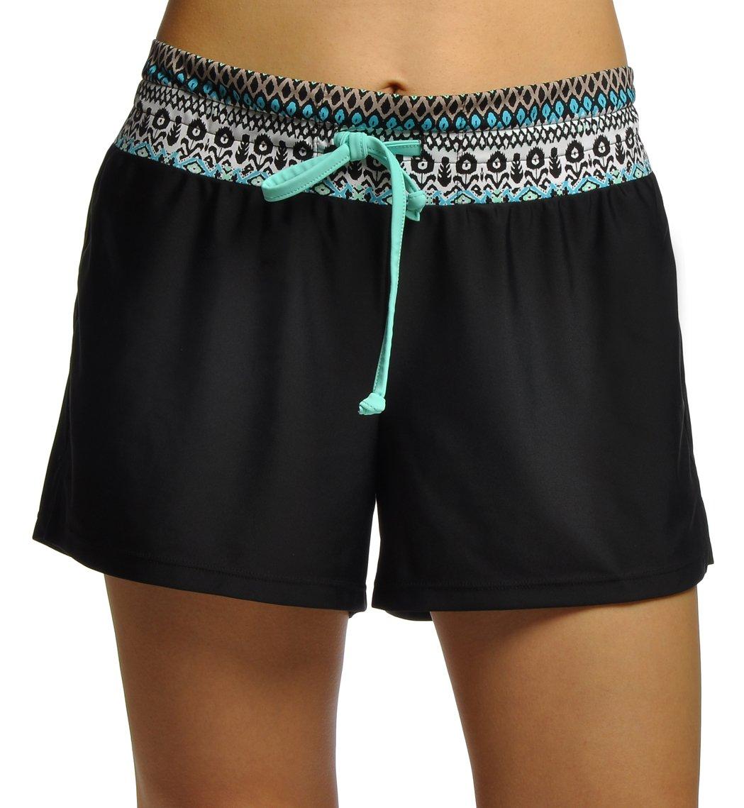 Womens Boardshorts with Boy Cut Swim Shorts with Panty Lining,Print Blue,X-Large
