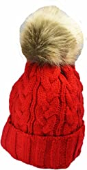 6540cb76fc1 KGM Accessories Quality Knitted cable bobble hat with Faux fur pom Red