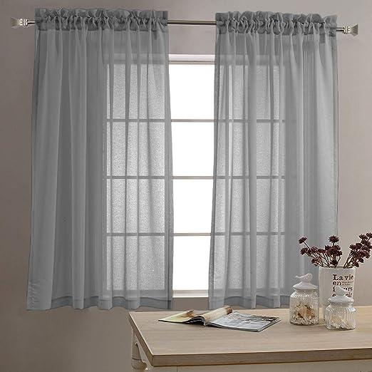 Amazon Com Jinchan Sheer Curtains For Living Room Rod Pocket