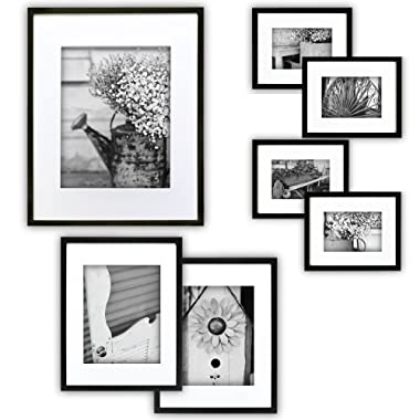 Gallery Perfect 7 Piece Black Photo Frame Wall Gallery Kit with Decorative Art Prints & Hanging Template
