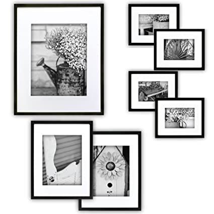 GALLERY PERFECT 7 Piece Black Photo Frame Wall Gallery Kit #11FW1443 ...