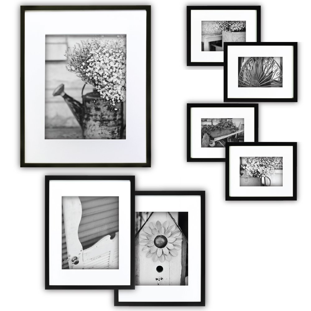 Gallery Perfect 7 Piece Black Photo Frame Wall Gallery Kit. Includes: Frames, Hanging Wall Template, Decorative Art Prints Hanging Hardware