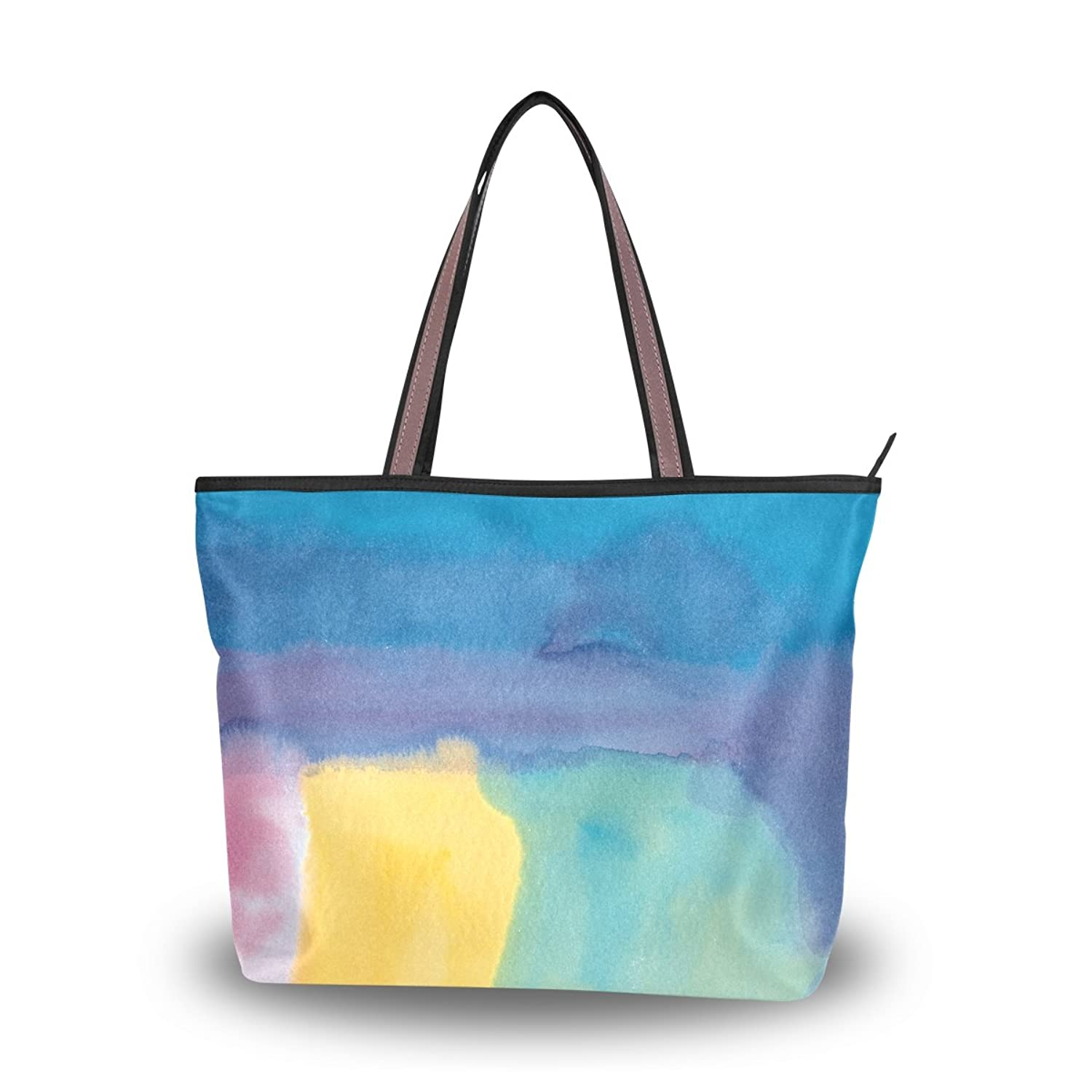 Leezone Colorful Oil Paint Printing Microfiber Shoulder Handbags