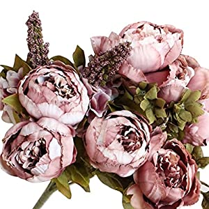 Silk Flowers Faux Peony - 13 Heads European Style Fake Artificial Peony Silk Decorative Party Flowers For Home Hotel Wedding Office Garden Décor - Spring Flowers Artificial (Cameo Brown) 59